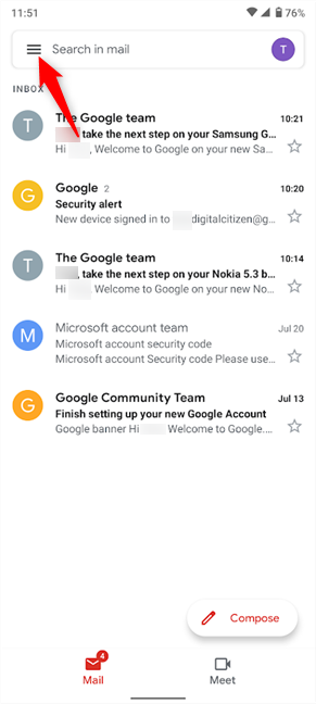 You can add a second Gmail account and see both sets of mails together