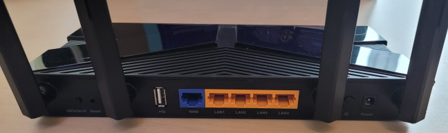 The ports on the back of the TP-Link Archer AX20