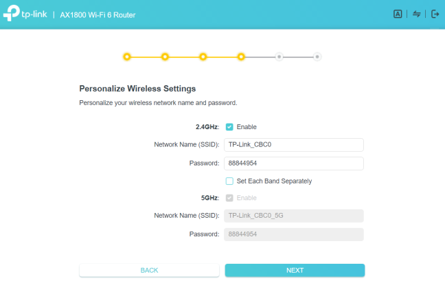 TP-Link Archer AX20 - personalize wireless settings