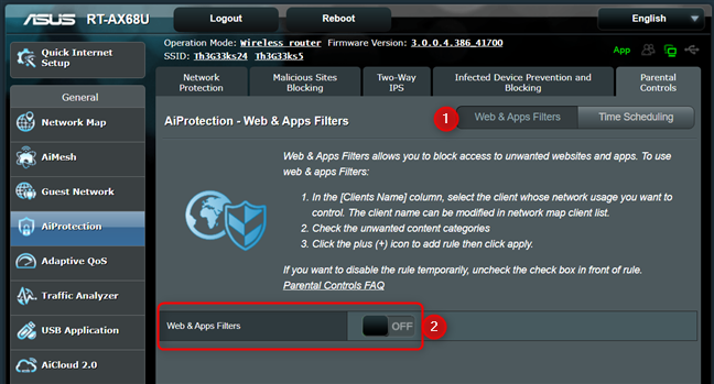 Enable Web & Apps Filters on your ASUS router