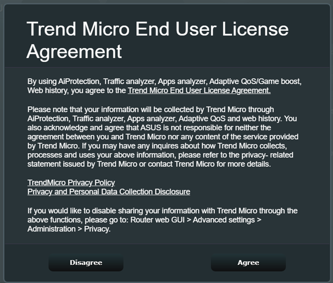 Accept the End User License Agreement for AiProtection
