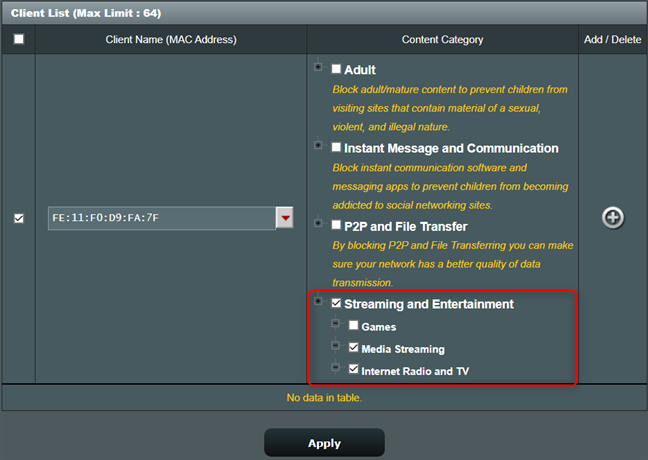 You can also block media streaming on your ASUS router