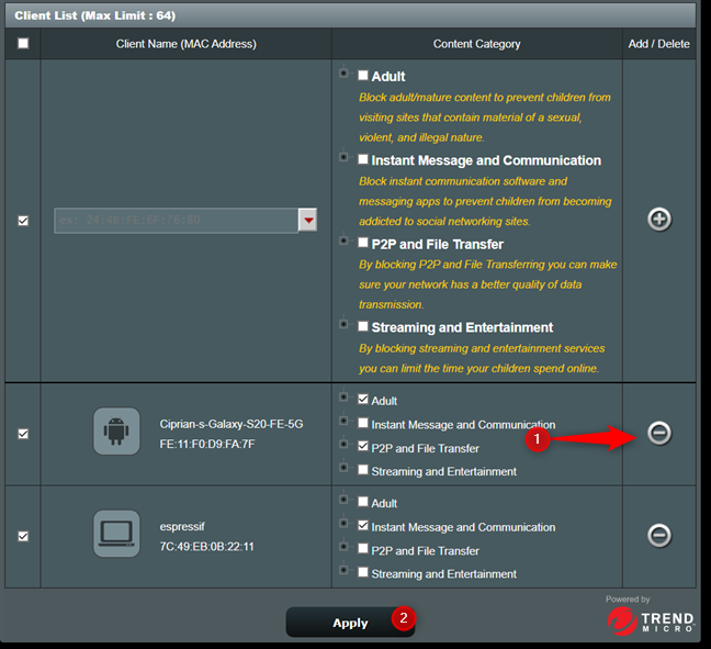 Remove a network client from ASUS parental controls