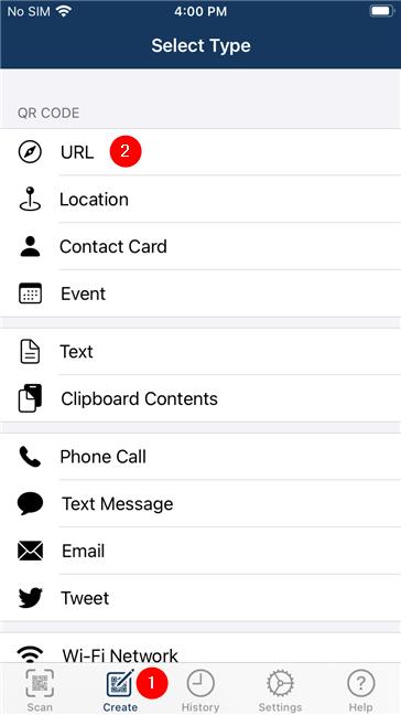 Using an app to create a QR code on an iPhone