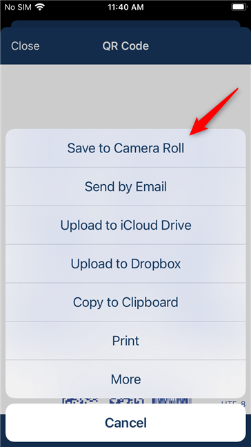 Options to save, send, print the QR code, etc.