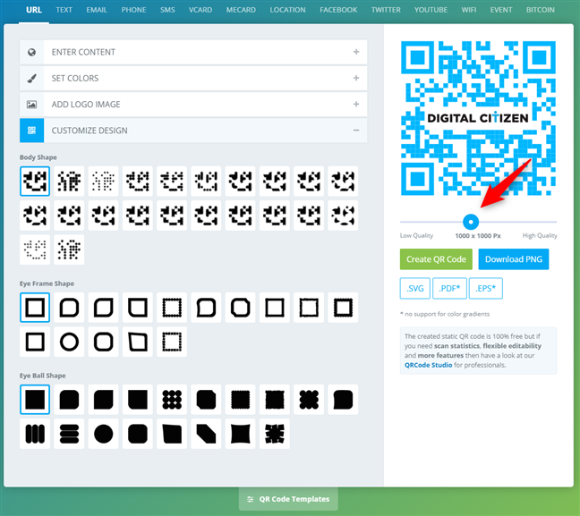Setting the size of the QR code
