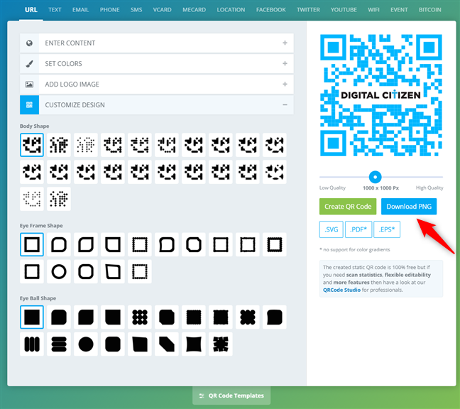 The QR code is created and can be downloaded