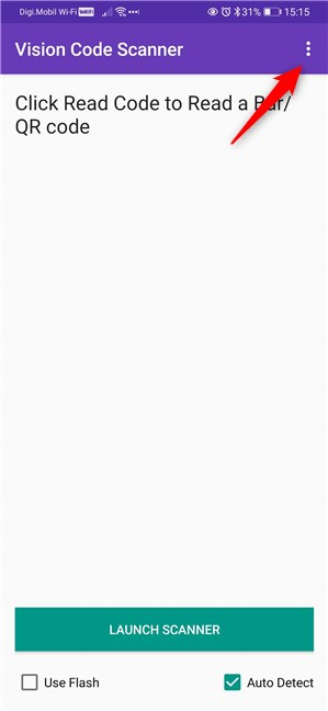 The menu button of the QR app