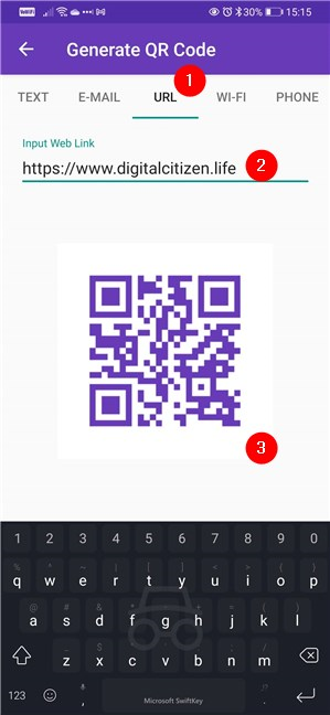 Selecting the type of content in the QR code and filling the fields