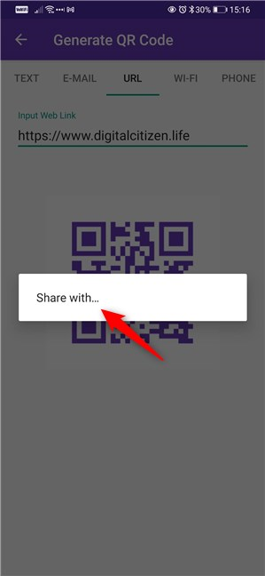 Choosing to share the QR code