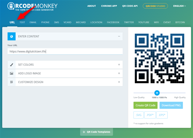 Selecting the type of content in the QR code