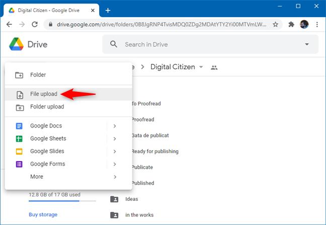 Choosing File upload on Google Drive