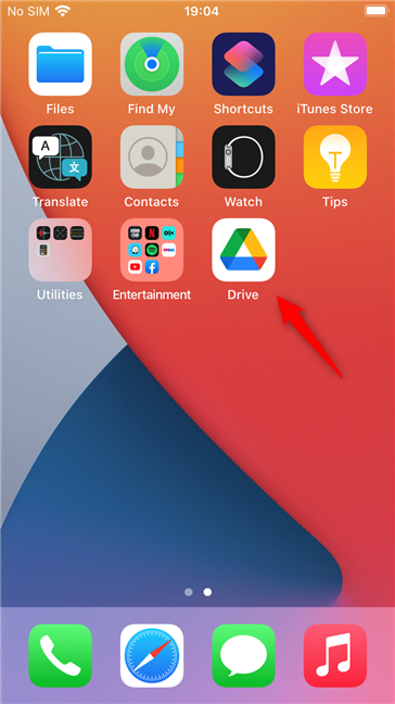 The Google Drive app on an iPhone