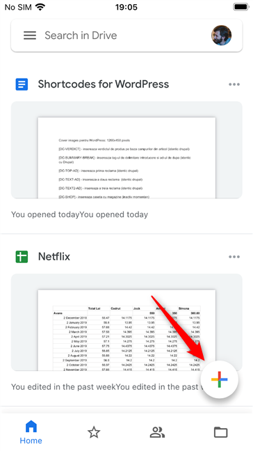 The Add button from the Google Drive app for iOS