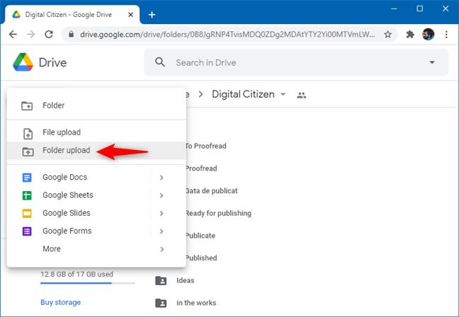 The Folder upload option on Google Drive
