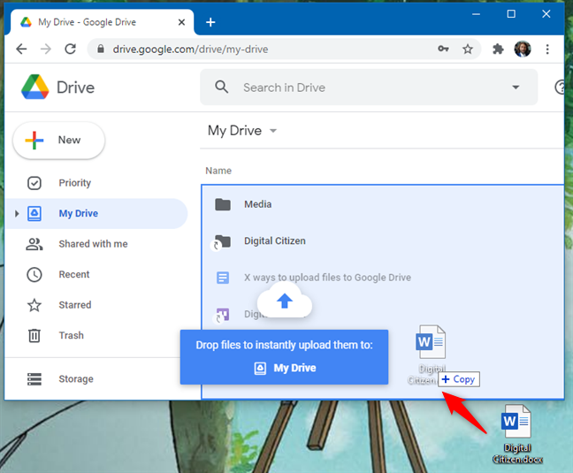 Uploading files to Google Drive using drag and drop