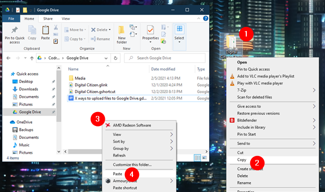 Copy and paste items to the Google Drive folder