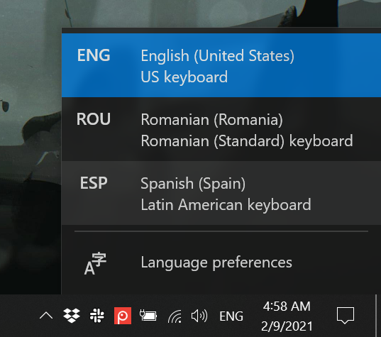 How to change the keyboard language in Windows 10 with two clicks or taps