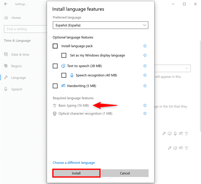In Windows 10, add a keyboard language by installing Basic typing for it