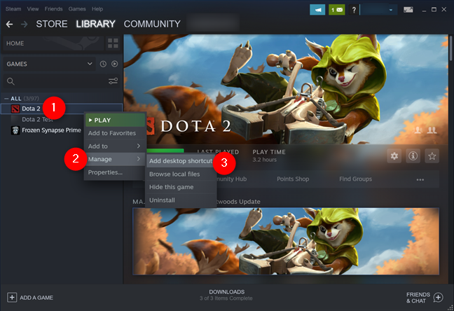 Add a desktop shortcut for the Steam game you want to pin