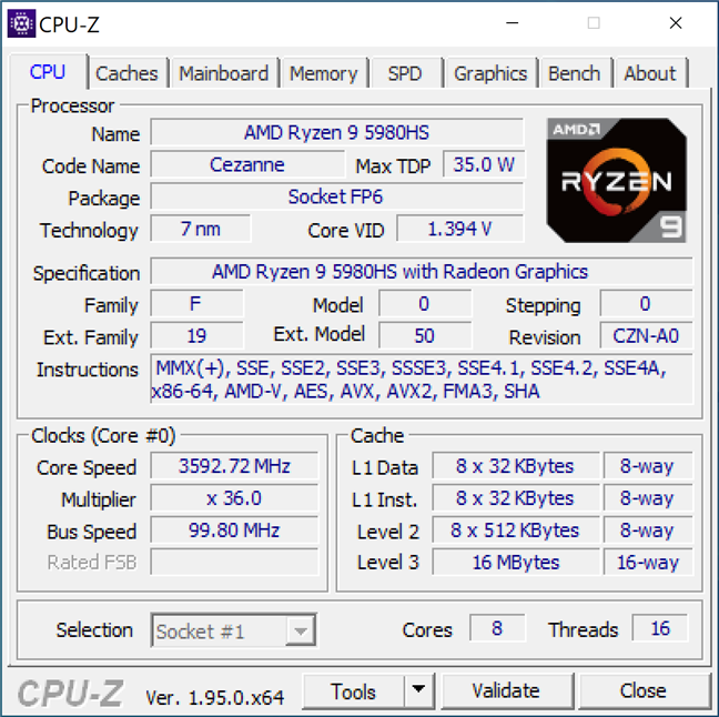 Processor details shown by CPU-Z