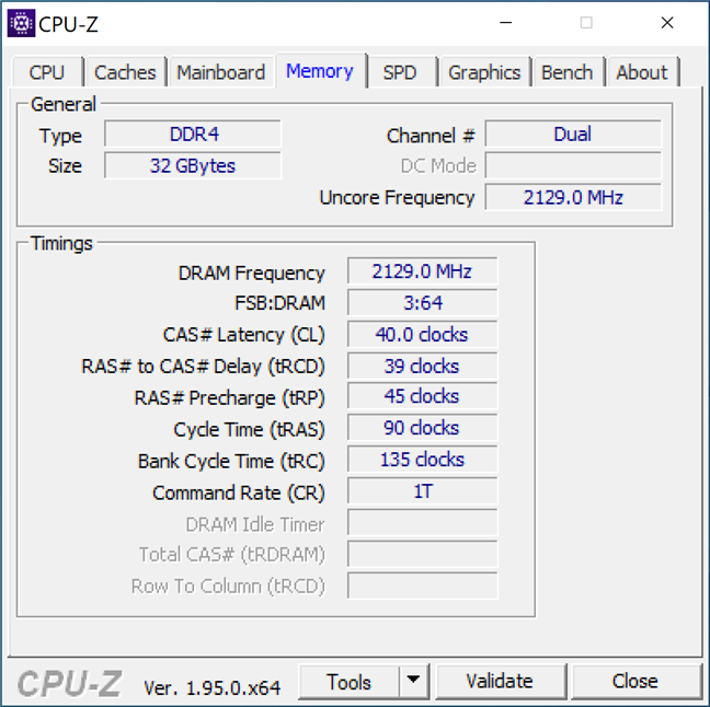 RAM details shown by CPU-Z