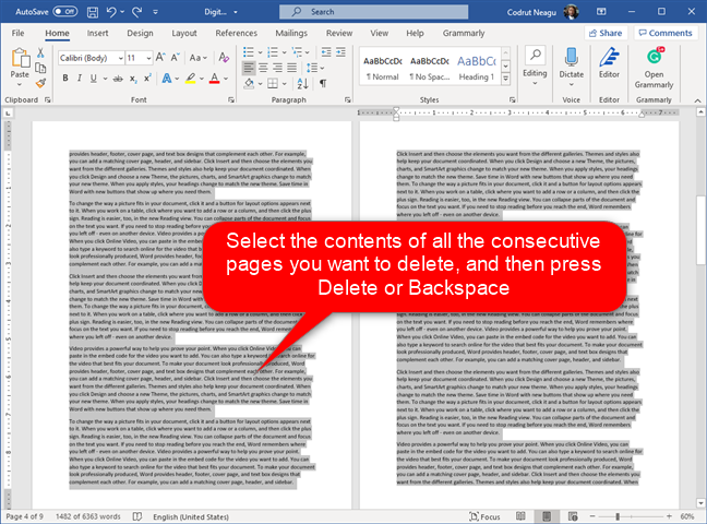 Selecting multiple pages and deleting them from Word