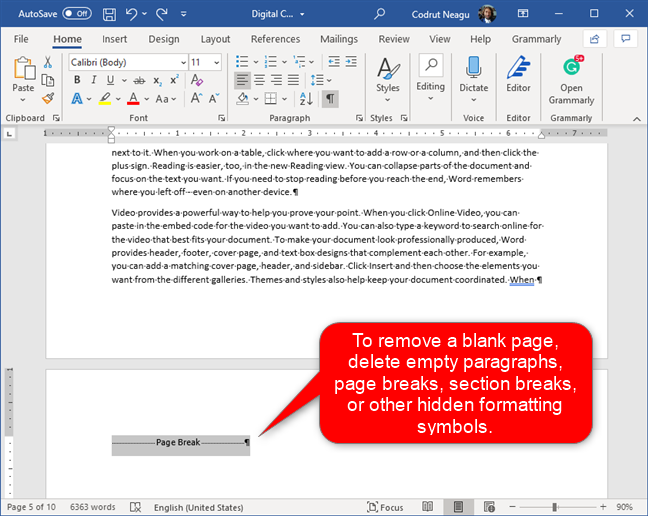 Deleting unneeded paragraphs, page breaks, etc.