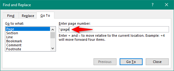 Enter \page in the Find and Replace window