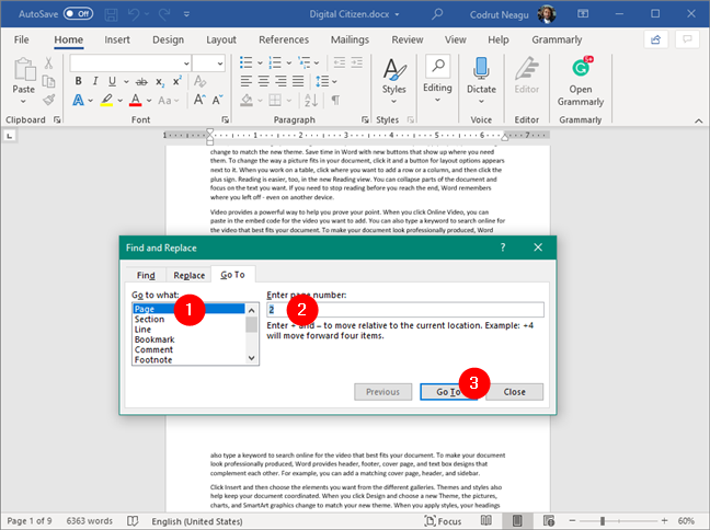 Going to the first page to delete, in Word
