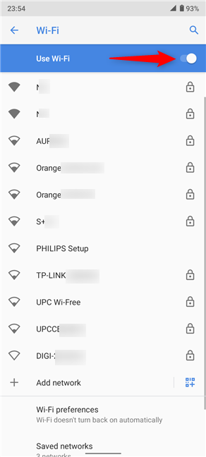 Make sure the Use Wi-Fi switch is on and connect to the desired network