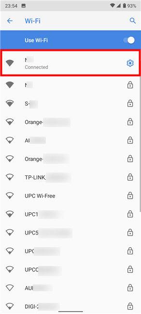 Tap on the cogwheel to access the Network details
