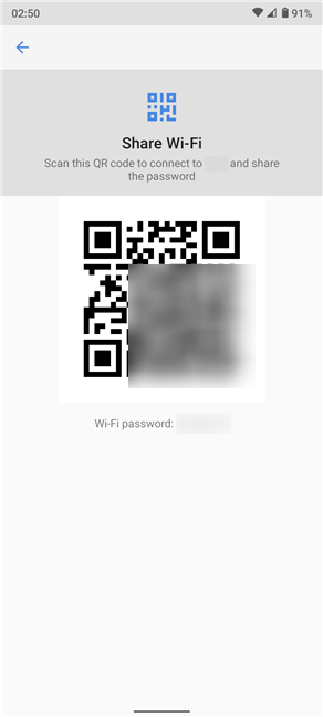 The QR code stores Wi-Fi connection details