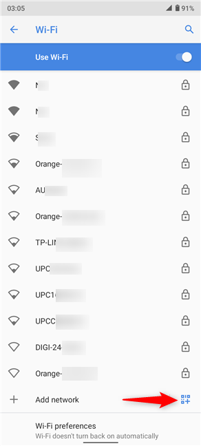 Press the QR code icon at the bottom of the network list
