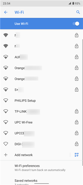 Press on a network's name to connect to it