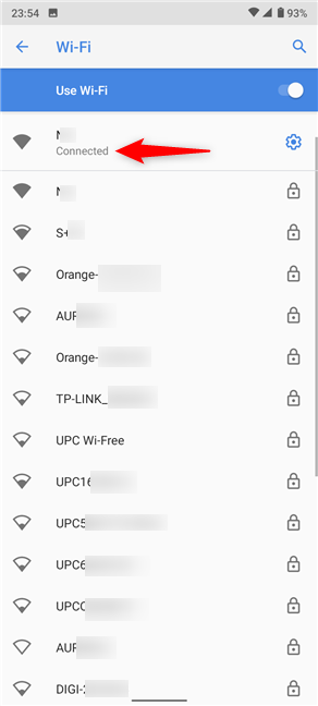The active network is displayed in the Android Wi-Fi settings