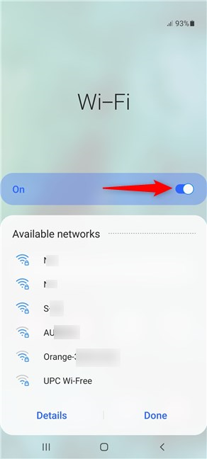 Make sure the Wi-Fi switch is On to display networks