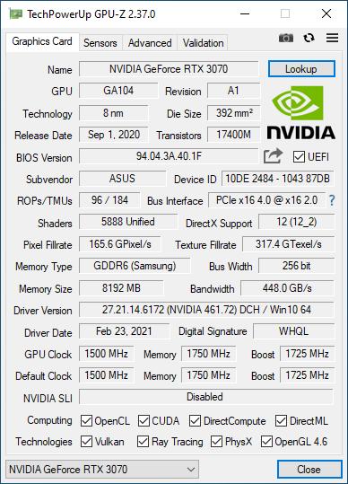 ASUS Turbo GeForce RTX 3070: Details in GPU-Z