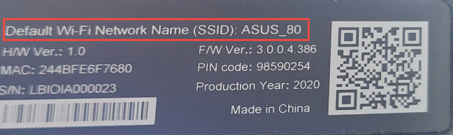 The default Wi-Fi name is written on a sticker on your ASUS router
