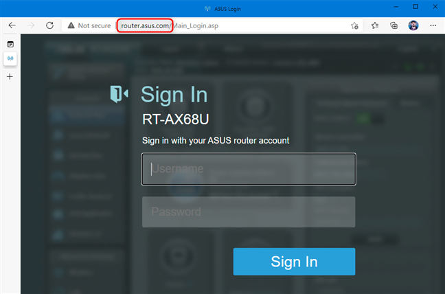 Navigate to router.asus.com and sign in