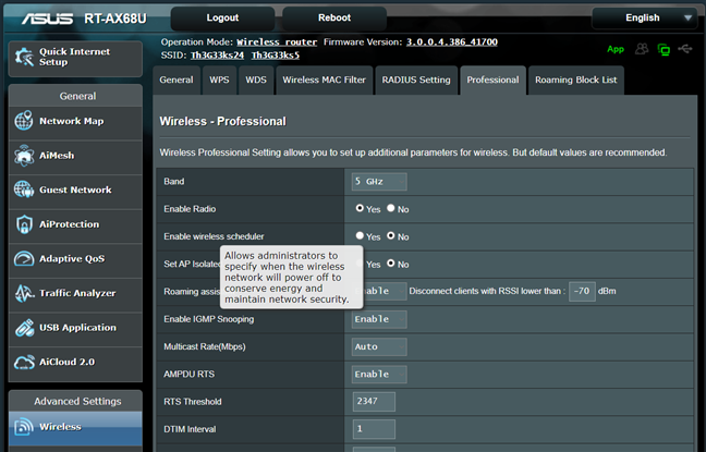 See more info about a setting on ASUS RT-AX68U