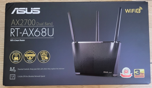 The packaging used for ASUS RT-AX68U