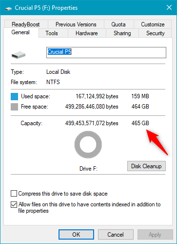 Details about the Crucial P5 SSD, as shown by Windows 10