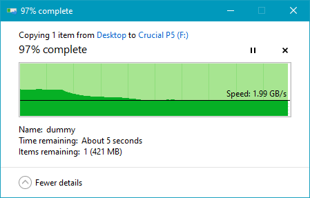 Copying a large file on the Crucial P5 1 TB M.2 NVMe PCIe SSD