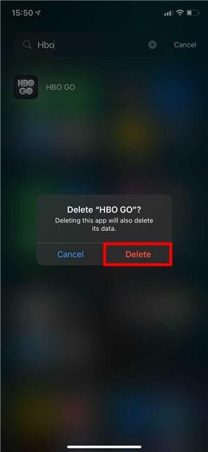 Press Delete to uninstall the app on iOS