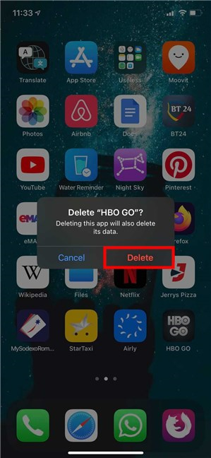 Tap Delete to remove the app from iPhone or iPad