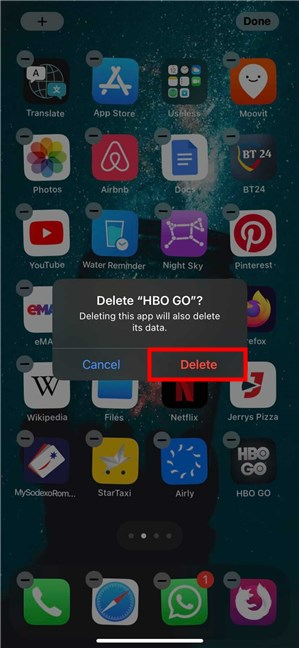 Tap on Delete to uninstall the app from your iPad or iPhone