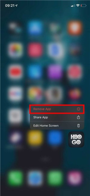 How to delete an app on iPad or iPhone using the actions menu