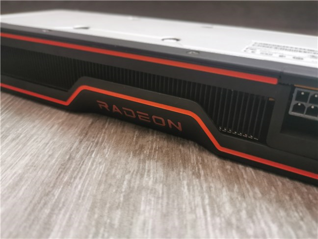 Radeon branding on the side of the AMD Radeon RX 6700 XT