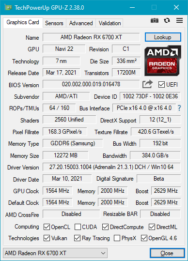 AMD Radeon RX 6700 XT: Details shown by GPU-Z